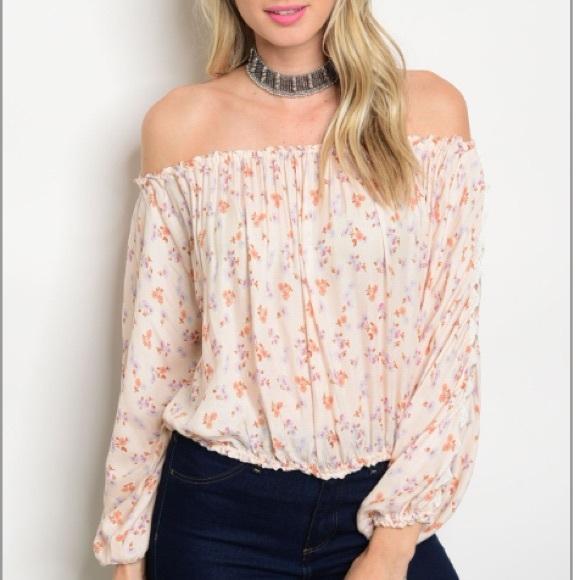 b49cb0cac8c5c Peach floral Off Shoulder Print crop Top